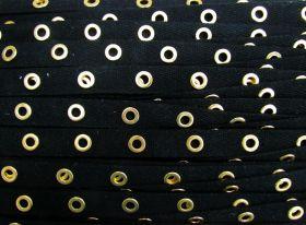 16mm Cotton Eyelet Tape- Black / Gold #438