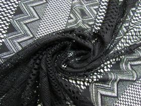 Crochet Stripe Cotton Mesh- Black #5681