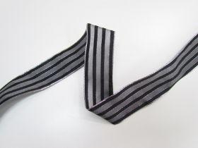 38mm Royal Taffeta Wide Stripe Ribbon- Black/Silver