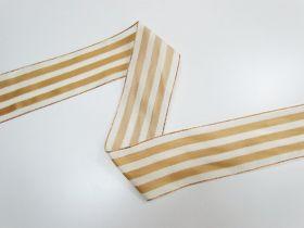 63mm Royal Taffeta Wide Stripe Ribbon- Ivory/Gold