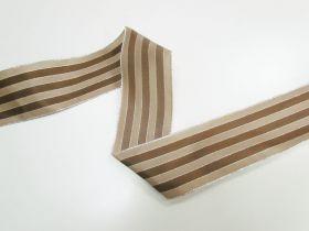 63mm Royal Taffeta Wide Stripe Ribbon- Brown/Latte