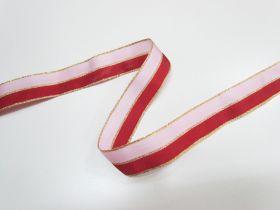 25mm Nutcracker Two Tone Ribbon- Pink/Red