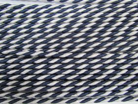 6mm Twisted Shiny Cord- Navy/White #556
