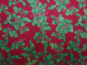 Christmas Holly Cotton- Red #5728