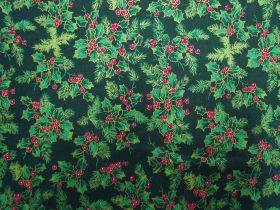 Christmas Holly Cotton- Green #5729