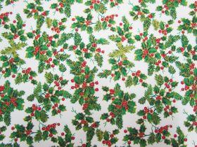 Christmas Holly Cotton- White #5730