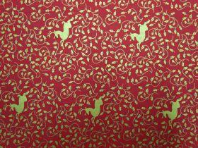 Golden Reindeer Cotton- Red #5732