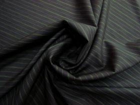 Pinstripe Wool Blend Suiting- Green / Black #5758