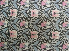 Liberty Cotton- Harriet's Pansy- Pink/Grey- 0477548Y- The Hesketh House Collection