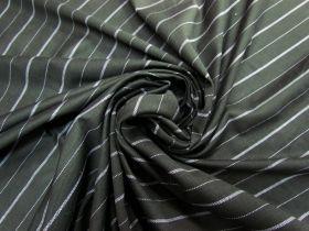 Sports Stripe Cotton Pique Knit- Pine Grey #5810