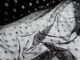 Glitter Spot Net- Silver on Black