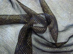 Mottled Metallic Thread Silk Chiffon- Midnight #4353