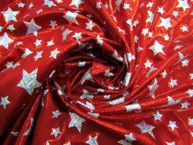 Holographic Stars Fog Finish Spandex- Red