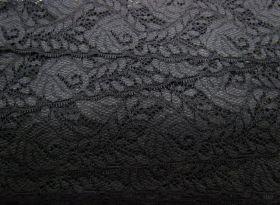 Romantic Vines Stretch Lace- Black #111- 68mm