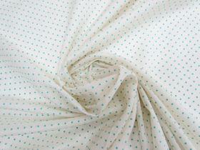 Flocked Spot Cotton Voile- Mint on Cream #5917