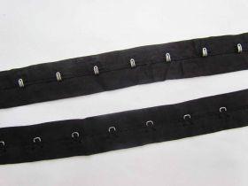 2cm Designer Cotton Continuous Hook & Eye Tape- Black