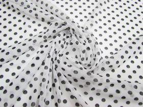 Polka Dot Stretch Mesh- White #2385