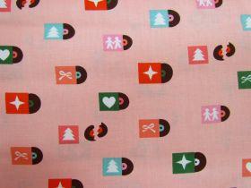 Ruby Star Society Cotton- Flurry- Christmas Tunes- Peach Fizz #12