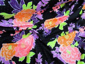 Bella Holiday Floral Spandex- Black