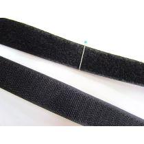 25mm Sew On Hook & Loop Fastener- Black