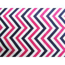 Chevron Stripe Cotton- Pink / Navy #PW1020
