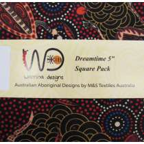 Dreamtime 5 inch Square Charm Pack- Red Colour Theme