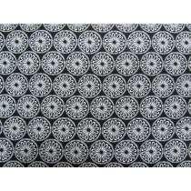 Black & White Cotton- Mod Flower- Black #0157-090