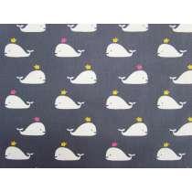 Happy Whales Cotton- Grey #2887