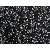 Black & White- Abstract Flower Cotton #2923