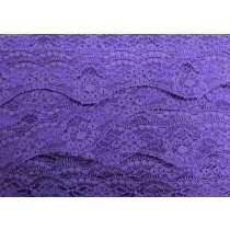 40mm Wave Edge Stretch Floral Lace Trim- Purple #278