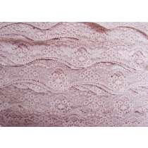 40mm Wave Edge Stretch Floral Lace Trim- French Rose #274