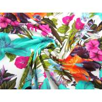 Luscious Tropical Paradise Spandex- White #2939