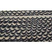 20mm Ziggy Cotton Lace Trim- Black / Natural #301