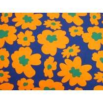 Maxi Mod Flower Cotton- Blue / Orange #4982