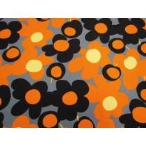 Tutti Frutti Flower Cotton- Orange / Black #4983