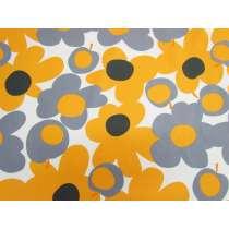 Tutti Frutti Flower Cotton- Yellow / Grey #4984