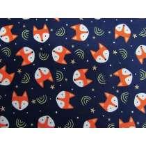 Fantastic Foxes Cotton- Navy #PW1209
