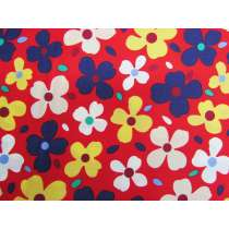 Peace, Love & Flowers Cotton- Red #PW1258