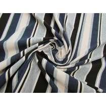 Layered Stripe Viscose Jersey- Sea #3143