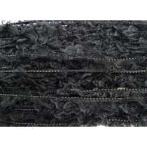 25mm Beaded Frill Lace Trim- Black #382