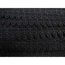 20mm Gothic Rose Scallop Lace Trim- Black #390