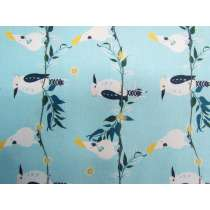 Kookaburra Calling Cotton- Feathered Line Up- Aqua #0128-K