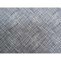 Morning Frost Cotton- Scribble Crosshatch Black on White DV2105