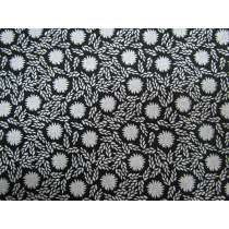Morning Frost Cotton- Garden Floral White on Black DV2136