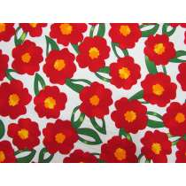Pop Flower Cotton- Red/White #5372