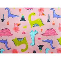 Dino Days Cotton- Pink #3855