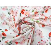 Juicy Peach Floral Stretch Rayon Cotton #4078