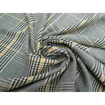 Stretch Viscose Blend Check- Cheery Yellow #4093
