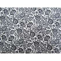 Wild Flower Cotton- Black / White #4128