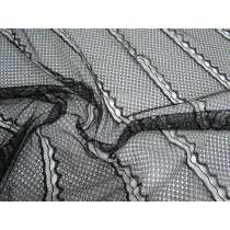 Delicate Wave Lines Lace- Black